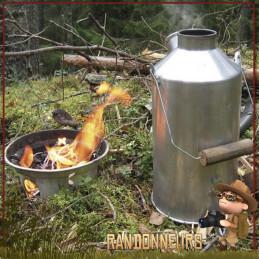 Bouilloire Réchaud Bois Bushcraft, Scout Kettle aluminium de 1.2 Litres KellyKettle pour bouillir de l'eau au feu de bois