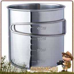 Tasse en acier inoxydable poignées repliables 60 cl compatible avec les gourdes Nalgene de 1 Litre