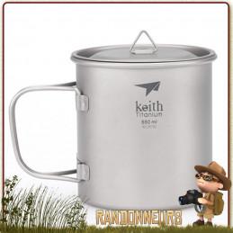 Tasse Pot Titane ultra light avec poignée 55 cl KEITH bivouac leger