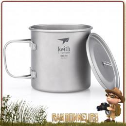 vaisselle trekking Tasse Pot Titane avec poignée 65 cl KEITH ultra leger bivouac