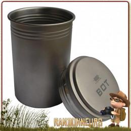 Vargo BOT Titanium combine à la fois un mug, une gourde étanche, une tasse ou une popote. Entièrement en titane