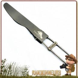 couteau en titane ultra légère repliable sur manche filaire, idéal pour le bivouac léger et randonnée ultra light