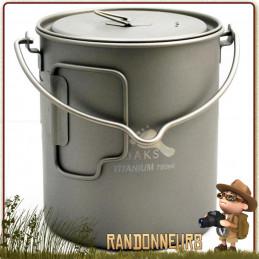 Pot en Titane avec poignées 750 ml TOAKS équipé de anses pour la randonnée ultra light et bivouac léger