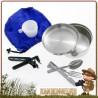 Popote Scout en acier inoxydable composée de 8 pièces cao livrée avec sac de rangement idéale pour un bivouac bushcraft