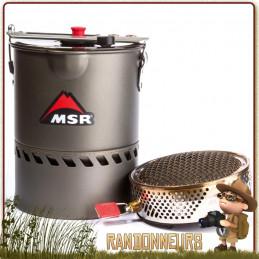 réchaud Réactor 1.0L MSR Fast and Light est composé d'un bruleur avec pare-vent et popote avec répartiteur de chaleur