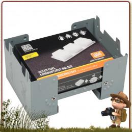 Réchaud de poche Hexamine Pliant large acier ultra léger très stable et facile d'utilisation combustible essence solide esbit