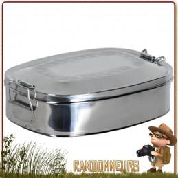 Tout en acier inoxydable, le lunch box 0.45 Litres Relags est un contenant alimentaire dont le couvercle se ferme par deux clips