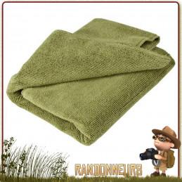 serviette micro-fibres, de couleur Vert Olive, en coton, est ultra légère et absorbante pour la toilette et vaisselle