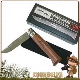 Couteau fermant Opinel 8 VRI luxe manche en bois Padouk 11 cm. Lame acier inox poli et glacé