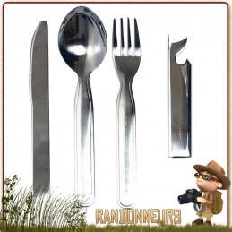 Set couverts de camping KFS Inox à usage militaire (couteau, cuiller, fourchette, ouvre boite, décapsuleur)