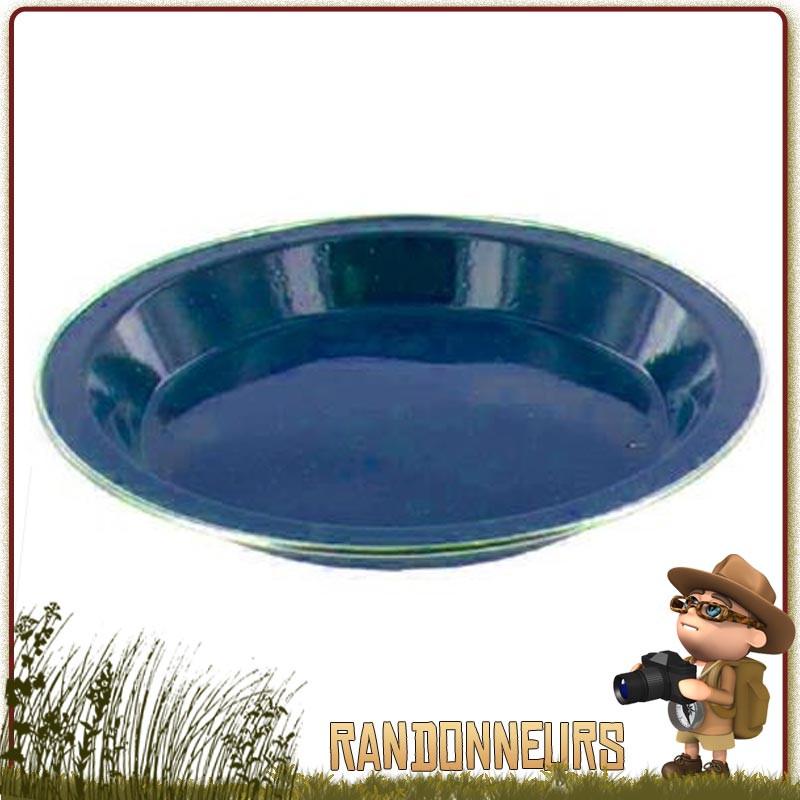 Assiette plate bushcraft tôle acier émaillée BLEUE highlander Vaisselle tôle émaillée de camping nature