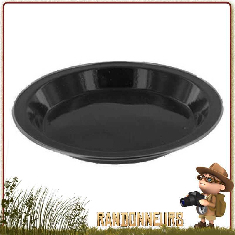 Assiette plate de camping tôle acier émaillée NOIRE highlander Vaisselle tôle émaillée pour le camping nature originel