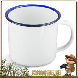Mug Acier Tôle Émaillée BLANC Highlander robuste pour un bivouac bushcraft en forêt ou camping nature