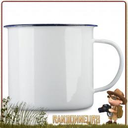 Tasse Mug Acier Tôle Émaillée 56 cl BLANC Highlander robuste pour un bivouac bushcraft en forêt ou camping nature