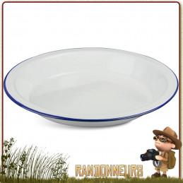 Assiette plate tôle acier émaillée blanche highlander Vaisselle tôle émaillée de camping et bushcraft