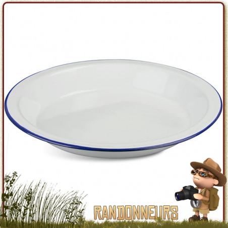 Assiette Plate Tôle Acier Émaillée BLANCHE Highlander