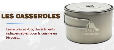 Casseroles et pots pour la cuisson en bivouac